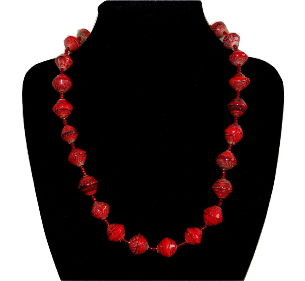 Handmade vintage bead necklace red